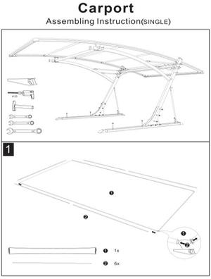 Assembling Instruction of Single carport