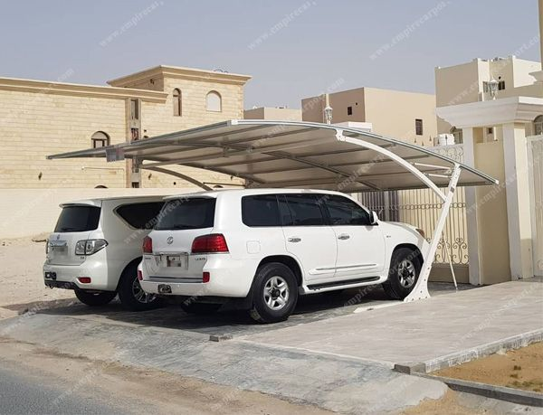 White double carport installed in Qatar