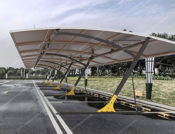 Carports connected to cover many cars