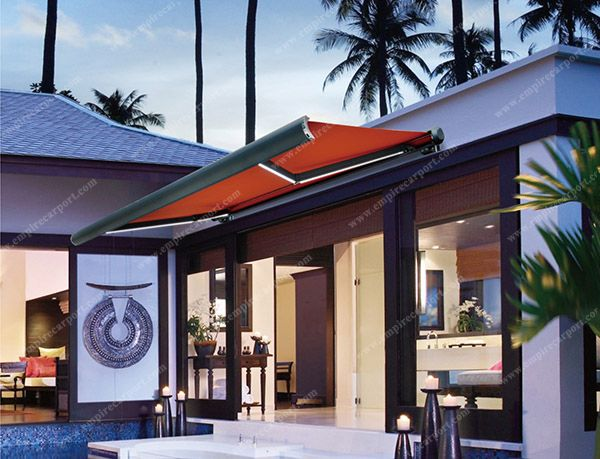 Full-Cassette Retractable Awning with LED light